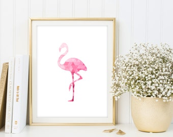 Geometric flamingo printable poster, flamingo wall art, flamingo nursery decor, triangle print, flamingo poster, pink geometric animal print