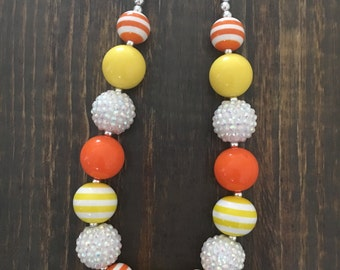 Candy Corn Inspired Bubblegum Chunky Necklace