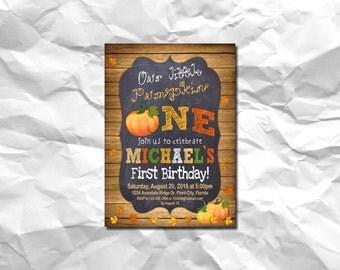 PUMPKIN INVITATION, Pumpkin Patch Birthday Invitation, Fall Birthday Invitation, Chalkboard, Pumpkin Patch, Pumpkin Birthday Invitation