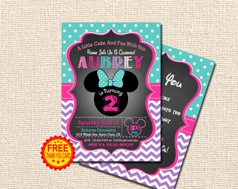 MINNIE MOUSE INVITATION, 2nd Birthday Invitation, Minnie Mouse Birthday Invitation, Minnie Mouse Birthday, turquoise, Free Thank You Card