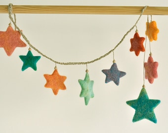 needle felted stars garland