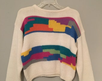 Colorful Geometric Cropped Sweater Size M