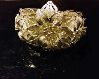 Flower Sterling silver cuff Bracelet