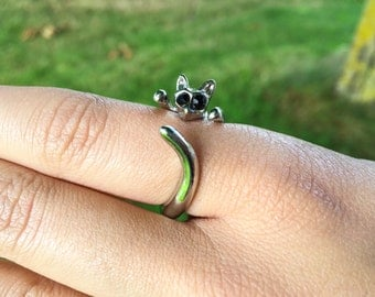 Silver Plated cat Ring, Kitty, Pet Lovers, Cat Adjustable Ring