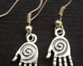 Spiral Healing Hand Dangle Earrings