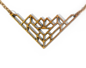 Gold Geometric Laser Cut Wooden Necklace : #14
