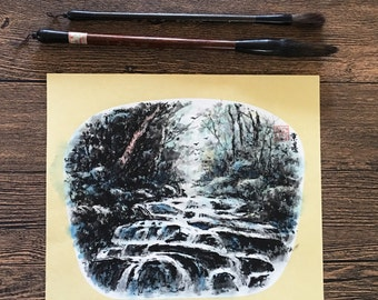 Original Chinese Ink and Wash Painting - Zen Waterfall Landscape, 24x27cm, Chinese Painting, Wall Art, Home Decor, Great Gift!