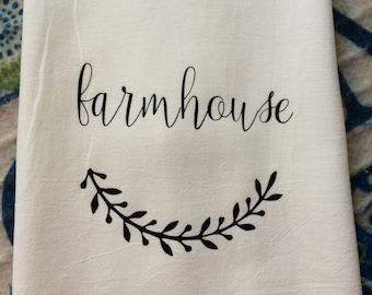 Farmhouse Kitchen Flour Sack Dish Towel Shabby Chic Cottage Decor Farm Font Tea Towels Floursack - Christmas Housewarming Wedding Gift