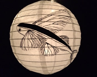 Hand Painted Paper lantern Flying Fish