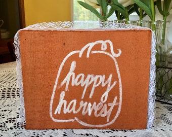 Happy Harvest Wood Block