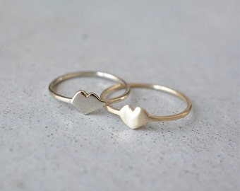 14K Gold heart ring, 14k gold ring, delicate ring, 14k gold simple ring, wedding ring, stackable rings, minimalist ring, solid gold ring,