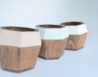 Wooden Septagon Planter