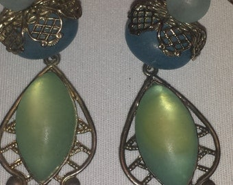 Vintage Blue and Green Drop Earrings with Silver Details