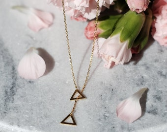Triangle Gold Plated Sterling Silver Necklace | Small Simple Tiny Dainty Geometric Necklace | 925 Hypoallergenic