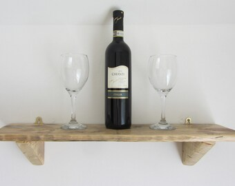 Rustic Reclaimed Pallet Wood Wall Hanging Shelf Finished in Natural Beeswax . Various Sizes Available