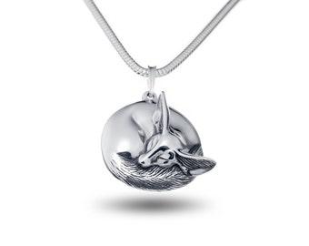Fox necklace Fennec fox pendant Sleeping Fox jewelry Foxes Silver little fox Fox gift Blue eyes Green eyes Gift for women Pup
