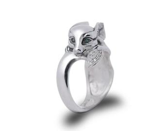 Fennec Fox ring, Fox ring, Fox Jewelry / Solid sterling silver (silver 925)