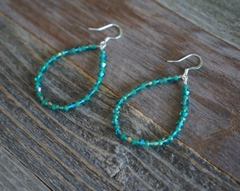 Green Beaded Hoop Earrings, Beaded Hoop Earrings, Teardrop Beaded Earrings, Green and Silver Hoops, Large Beaded Hoops