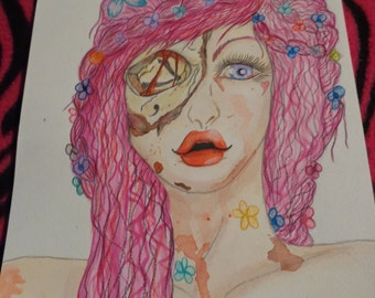 zombie lady, watercolor, colored pencil, skull, gore.