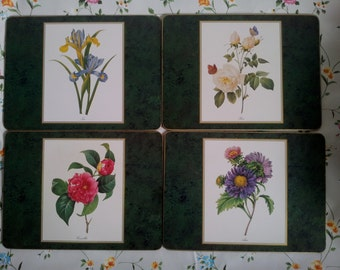 Vintage Table Mats Placemats Set of 4 by Cloverleaf Country Flowers
