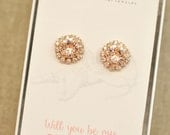 Rose Gold Blush Pink Bridesmaids Earrings Swarovski Crystal Silk Halo Stud Post Clip on Rhinestone Earrings Will You Be My Bridesmaid