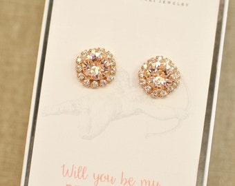Rose Gold Blush Pink Bridesmaids Earrings Swarovski Crystal Silk Halo Stud Post Clip on Rhinestone Earrings Will You Be My Bridesmaid
