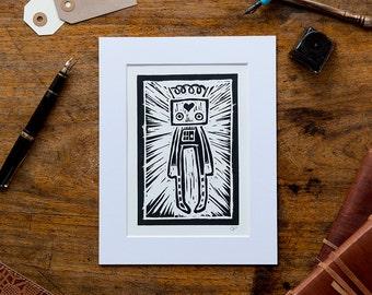 Mounted Robot Print - Original Lino Art Print