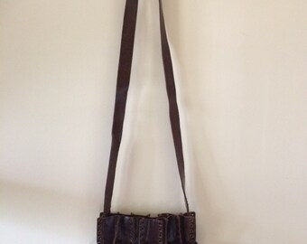 1960's Leather Purse | Grommet Boho | Bohemian | Hippie | Chocolate Brown Leather Cross body Purse with Buckle