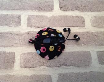 Liquorice allsorts earphone case, headphone case, headphone organizer, earbud case