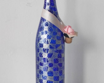 """Stained glass bottle """"Blue chess"""""""