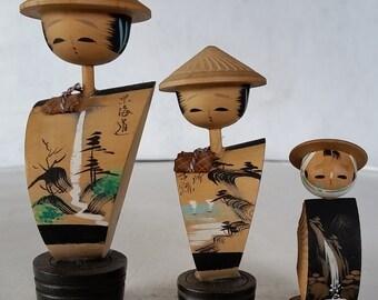 Vintage Japanese Kokeshi Trio