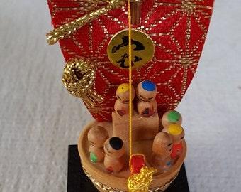 Vintage Japanese Kokeshi - 7 Gods of Good Fortune.