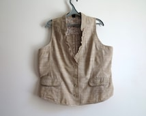 Light Brown Womens Cotton Vest Beige Sleeveless Waistcoat Extra Extra Large Size