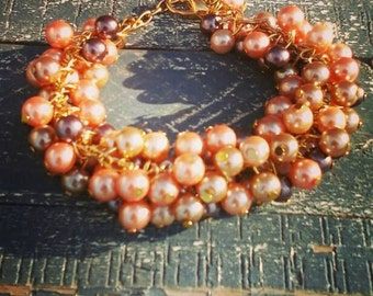 Boho Chic pearls bracelet, Golden shades pearls pearls pearls, Beaded pearls bracelet, gift for her