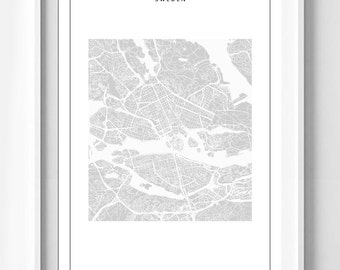 Poster poster map of Stockholm, simple and minimalist, original decoration for the House.