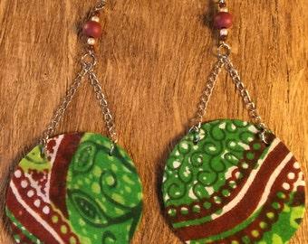 Round Long-African Print Earrings