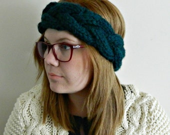 Chunky Knit Braided Headwarmer, Earwarmer, Headband, Adult
