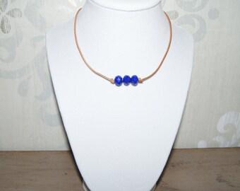 Three Bead Choker - Royal Blue Faceted