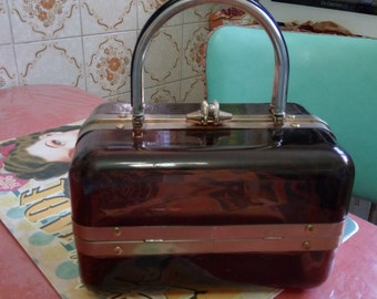 original bag shape box 1960 s / 70 s Brown plastic