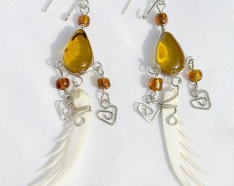 Handmade Bone and Orange Glass Earrings