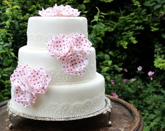 Red Polka Dot & Vintage Lace Wedding Cake Flower Topper Set. Pearl Trim. Classic Style. Chic. Timeless. Anniversary. Celebration. Trims.