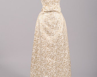1960 Metallic Brocade Vintage Wedding Gown
