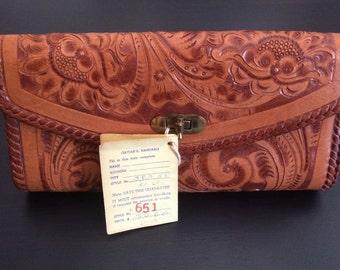 Authentic Gaitan Tooled Leather Clutch, Vintage