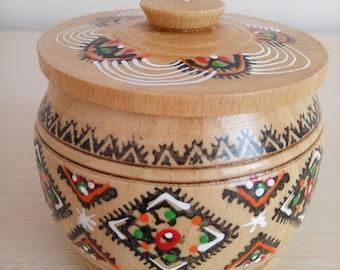 Vintage wooden box, Round box, Storage box, Ukrainian style, Handmade box, Box for jewelry, Ukrainian souvenir, Sugar bowl wood Salt cellar
