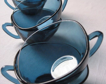 6 to 9 cups Vereco blue glass / tempered glass coffee mug / Cup / Vintage french 60 - 70s / retro dishes