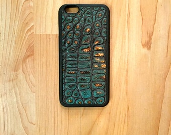 Genuine Leather Iphone 6/6s Case Turquoise Crocodile Pattern