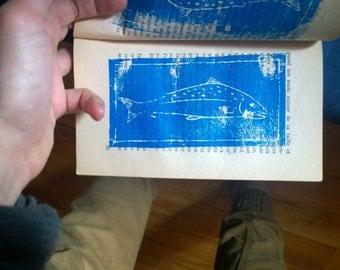 Salmon linoprint