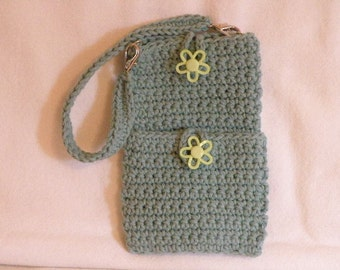 Crocheted Wristlet Cell Phone and Credit Card Case