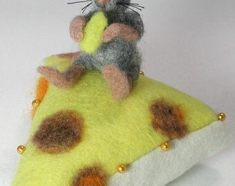 a felted Cheesy  mouse   Pin Cushion  a fun place to pin poke your loose needles and entertain others with a delightful  character