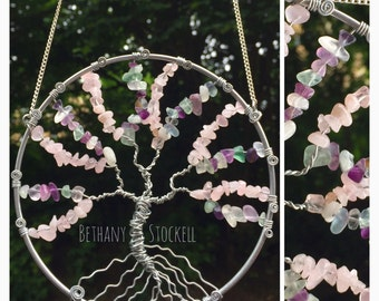 "5"" Handmade Tree of life Sun-catcher (Rose Quartz & Green Fluorite)"